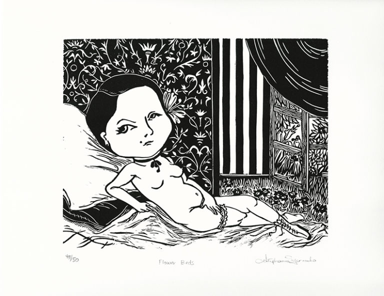 "Stephanie Mercado, Flower Beds, linocut, Ed. 50 15 x 20"""
