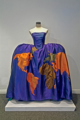 Stephanie Mercado, Textile Sculpture of Dress with Map of the World, 60 x 36 x 12""