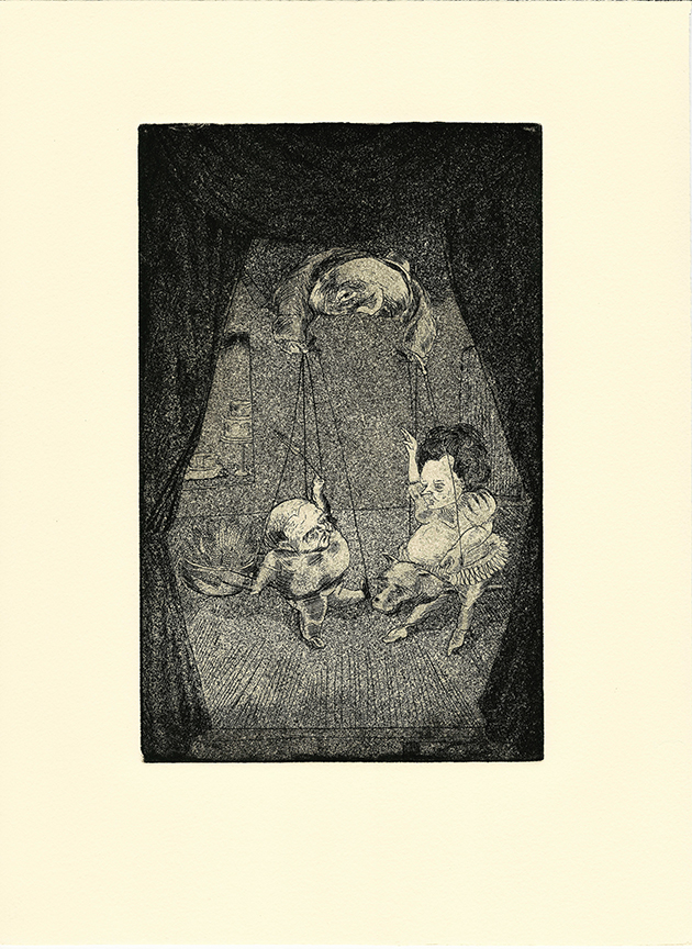 "Stephanie Mercado, Le Bourgeiousie, 2007 aquatint etching 15 x 11"""
