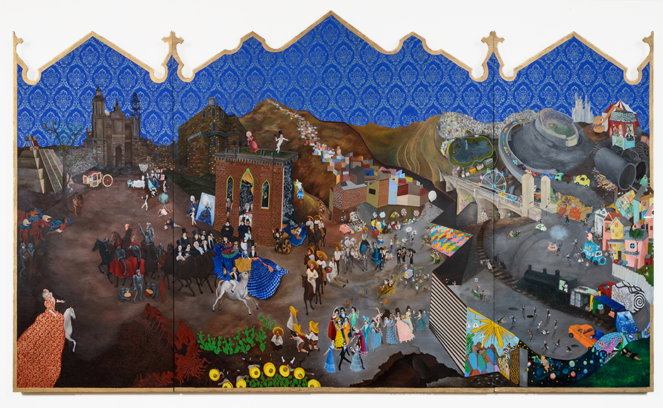 "Stephanie Mercado, Live Through This, 2007 - 2015, oil on wood panel, 60 x 120"""