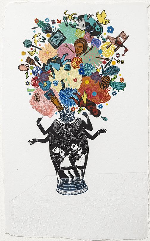 Stephanie Mercado Flourish Explode Monoprint Collage